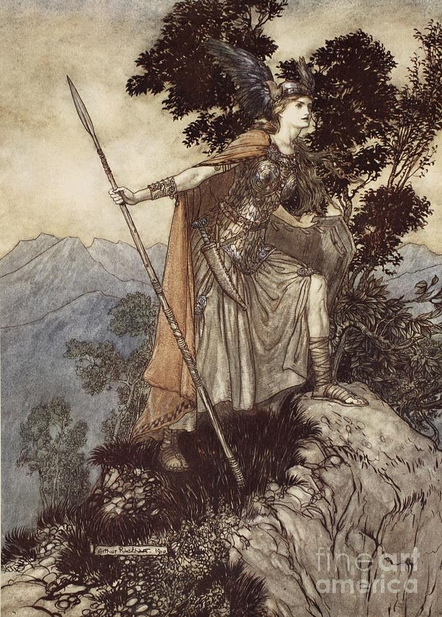 Der Ring Des Nibelungen; The Ring Of The Nibelung; Myth; Legend; Opera; The Ring Cycle; Die Walkure; Richard Wagner; Viking; Norse Mythology; Female; Warrior; Brunhilde; Brynhildr; Spear; Armour; Strength; Powerful; Femme Fatal Drawing - Brunnhilde From The Rhinegold And The Valkyrie by Arthur Rackham