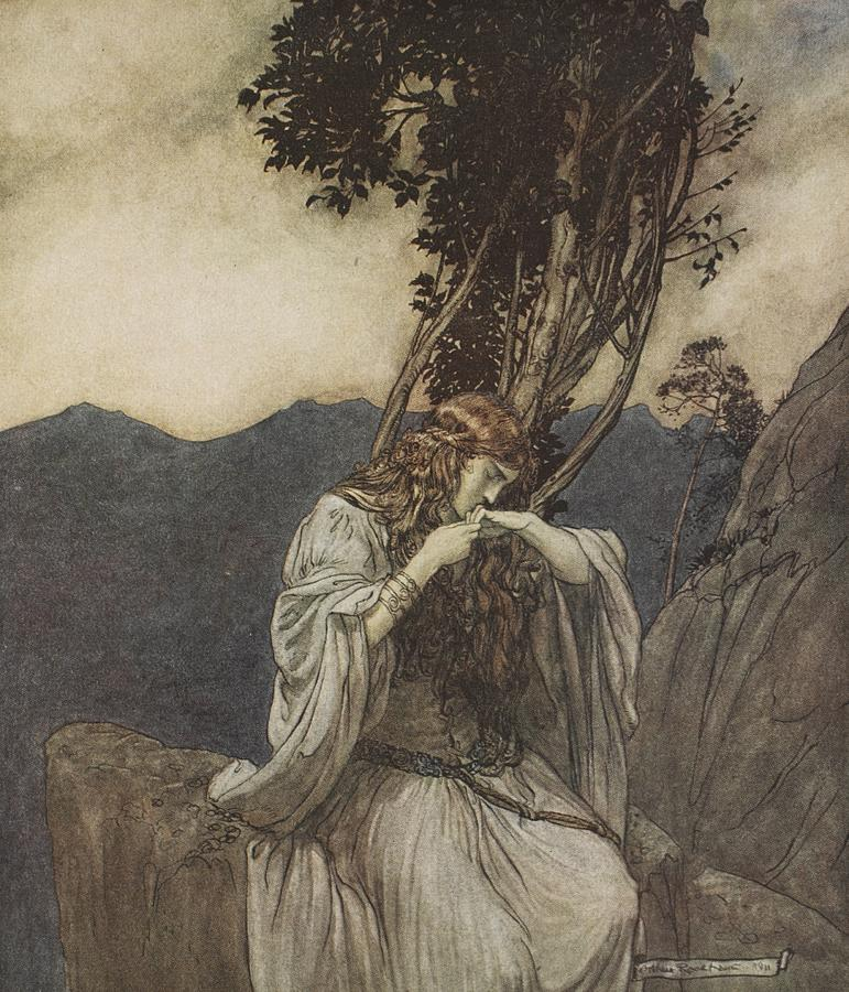 Der Ring Des Nibelungen; The Ring Of The Nibelung; Myth; Legend; Opera; The Ring Cycle; Richard Wagner; Viking; Norse Mythology; Character; Heroine; Female; Valkyrie; Mortal; The Twilight Of The Gods; Brunhilde; Brynhildr; Brunnhilde Rock; Sorrow; Loneliness; Heartache; Lovers; Mountains Drawing - Brunnhilde Kisses The Ring That Siegfried Has Left With Her by Arthur Rackham