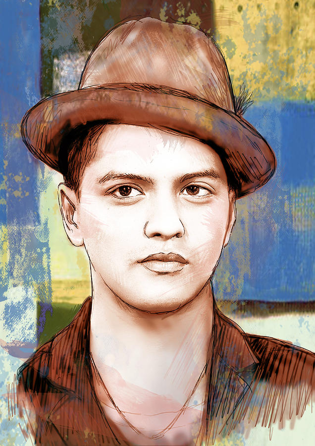 Portraits Drawing - Bruno Mars - Stylised Drawing Art Poster by Kim Wang
