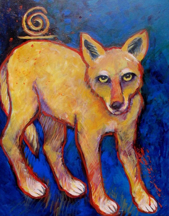 Brush Wolf Coyote Painting