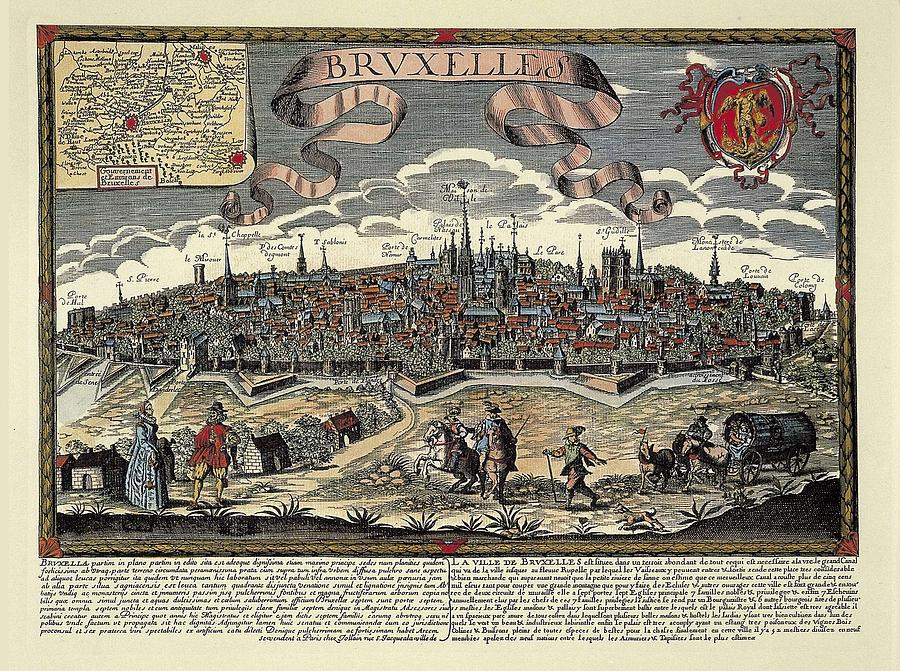 Colour Photograph - Brussels In 17th C. Engraving. � by Everett
