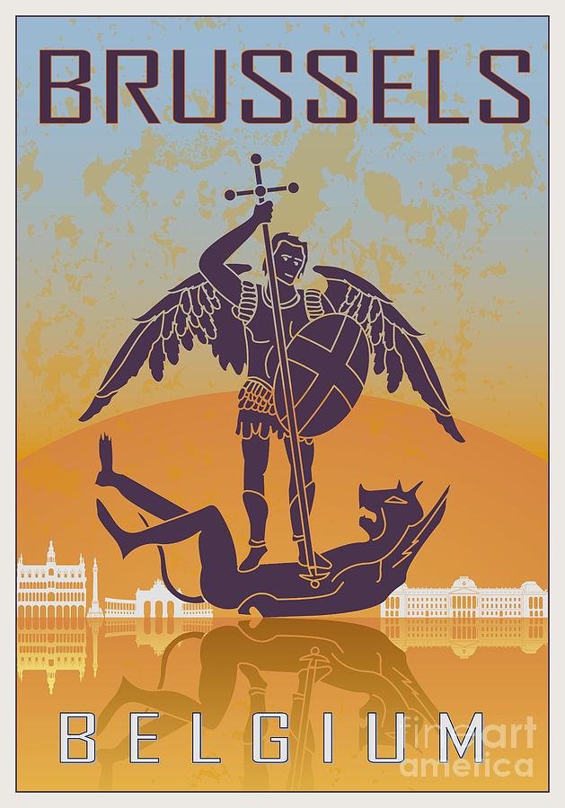 Brussels Vintage Poster Digital Art