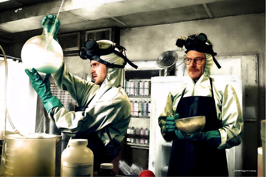 Aaron Paul Digital Art - Bryan Cranston as Walter White and Aaron Paul as Jesse Pinkman cooking metha @ TV serie Breaking Bad by Gabriel T Toro