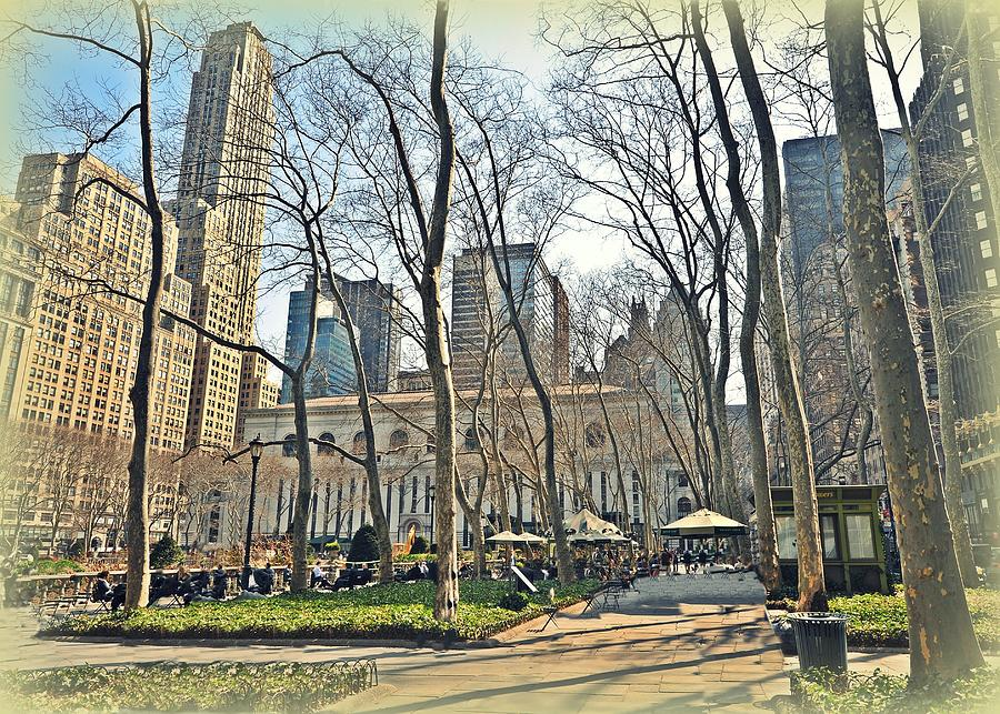 Nyc Photograph - Bryant Park Library Gardens by Tony Ambrosio