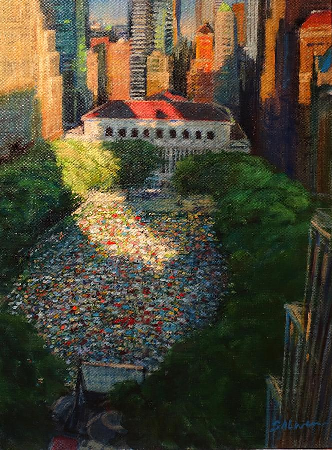 Landscape Painting - Bryant Park - Movie Night - The Crowd Gathers by Peter Salwen