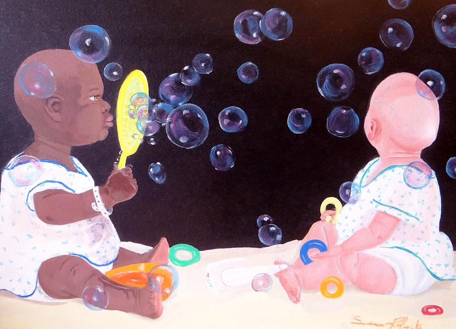 Oil Painting - Bubble Babbies  by Susan Roberts