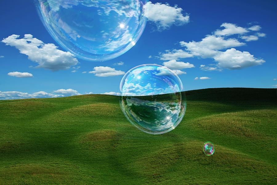 Bubble Float Across A Tuscan Landscape Photograph by Andrew Bret Wallis