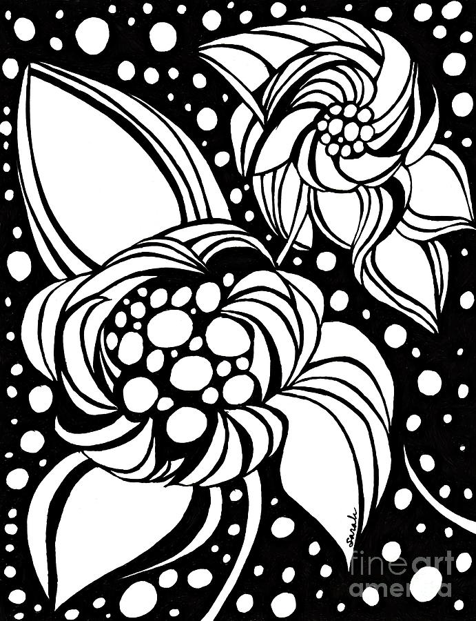 Flower Drawing - Bubble Flowers by Sarah Loft