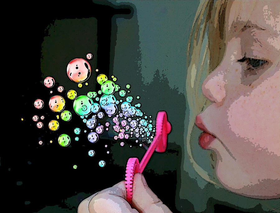 Bubble Mixed Media - Bubble Magic by Ellen Henneke