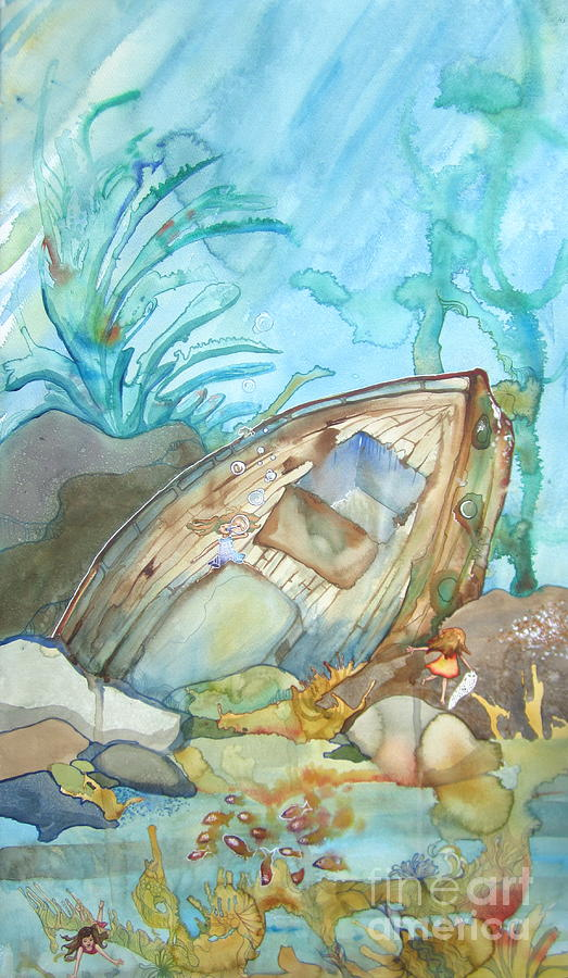 Shipwreck Painting - Bubble Ship Wreck by Maya Simonson