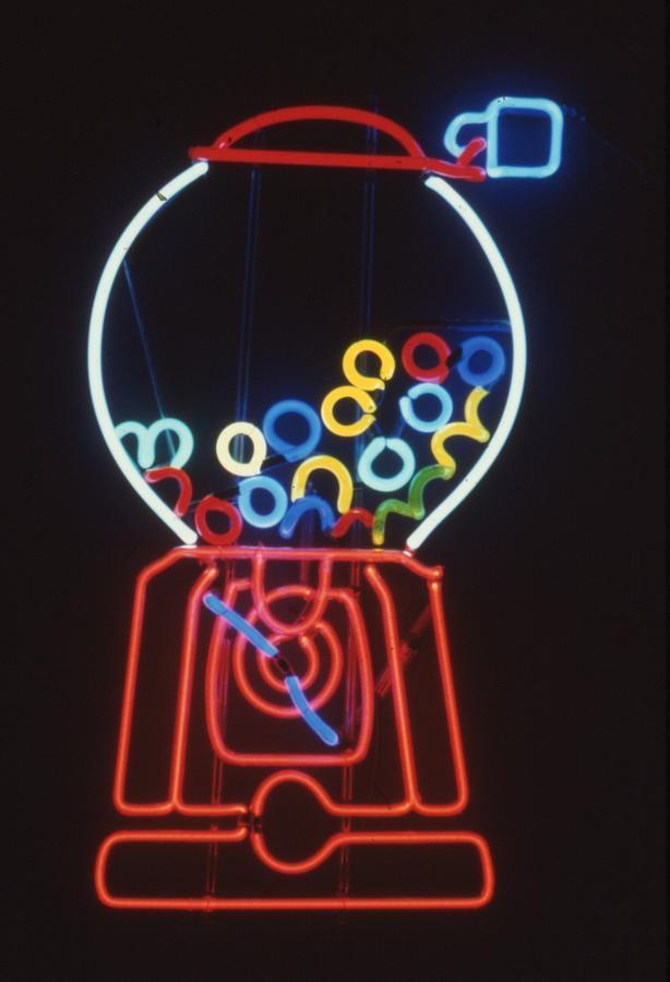 Neon Bubblegum Machine Sculpture - Bubblegum Machine by Pacifico Palumbo