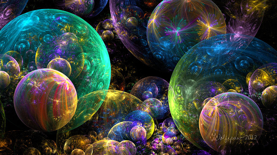 Abstract Digital Art - Bubbles Upon Bubbles by Peggi Wolfe
