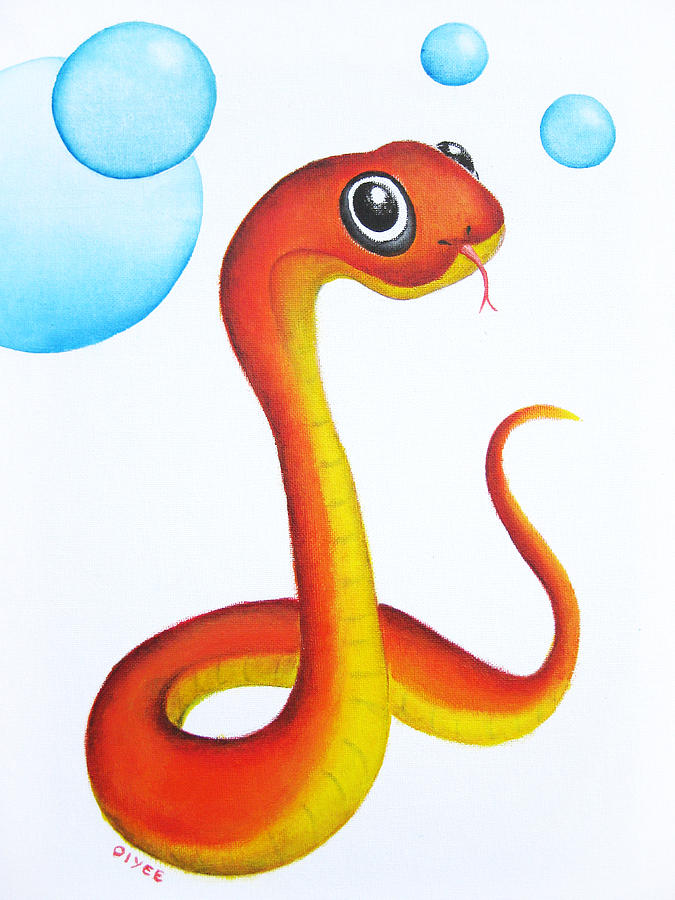Baby Painting - Bubbly Baby Snake by Oiyee At Oystudio