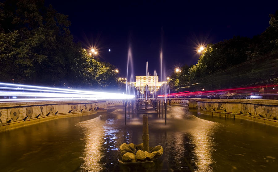 Architecture Photograph - Bucharest Night Traffic by Ioan Panaite