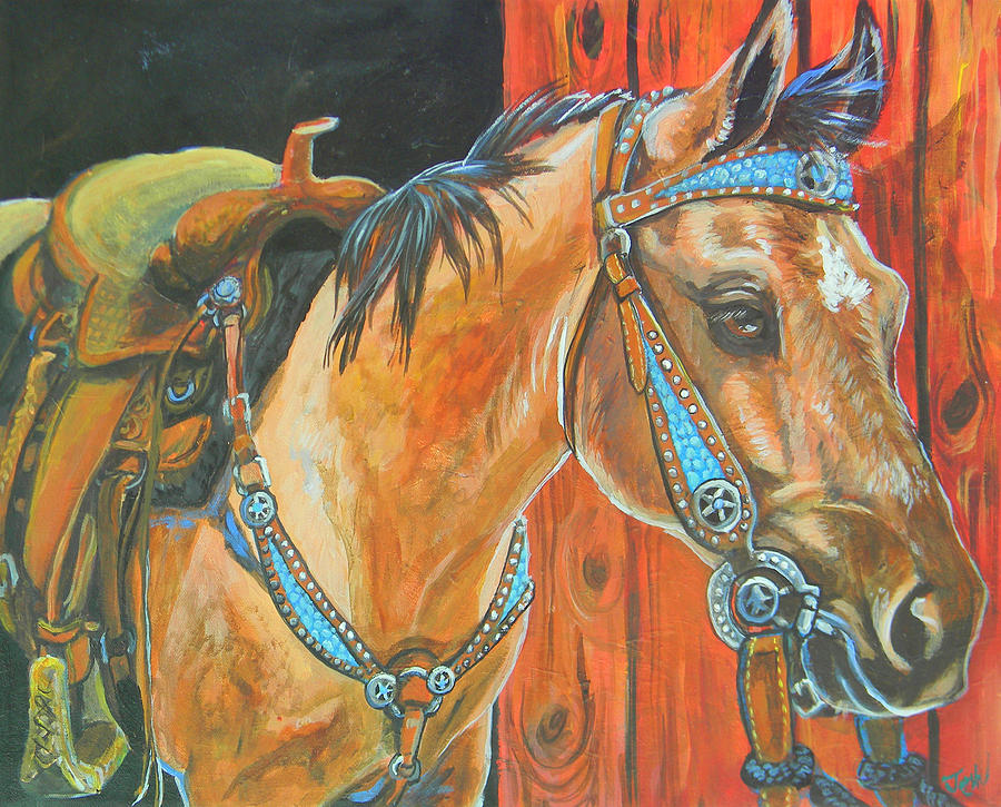 Horse Painting - Buckskin Filly by Jenn Cunningham
