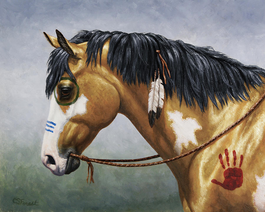 Horse Painting - Buckskin Native American War Horse by Crista Forest