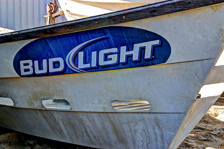 Blue Photograph - Bud Light Dory Boat by Heidi Smith