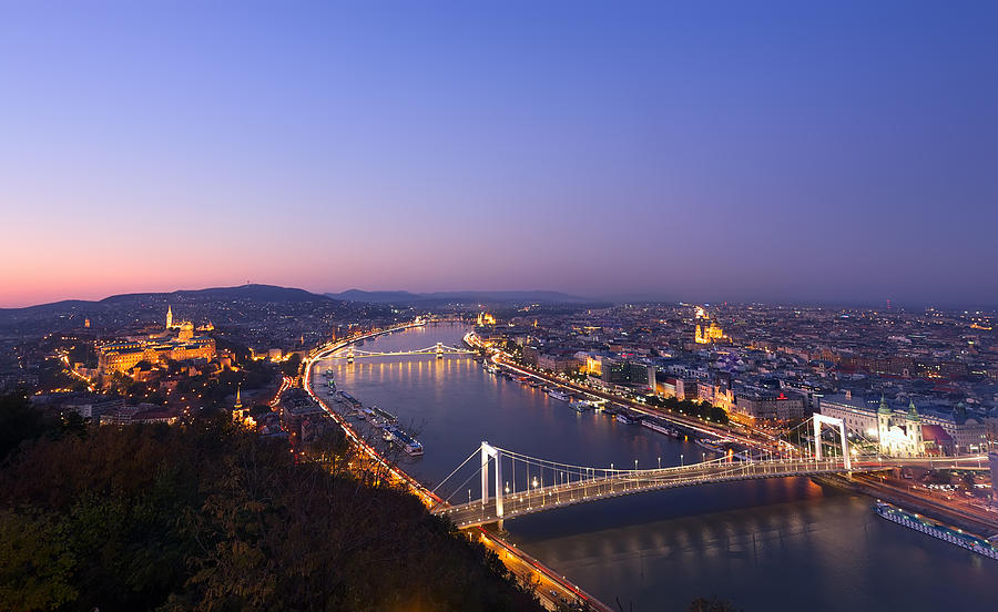 Aerial Photograph - Budapest At Night by Ioan Panaite