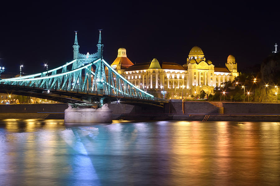 Architecture Photograph - Budapest Night Bridge by Ioan Panaite