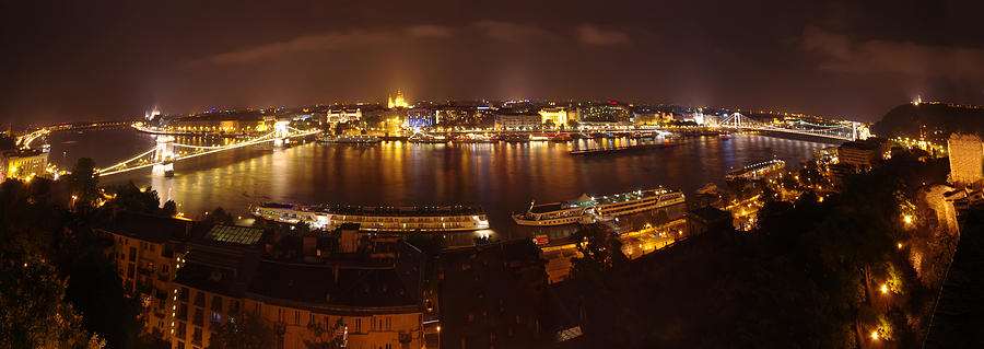 Architecture Photograph - Budapest Night Panorama  by Ioan Panaite