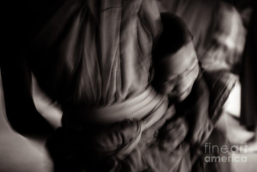 Novice Photograph - Buddha -boys Will Be Boys - Black And White Version by Dean Harte