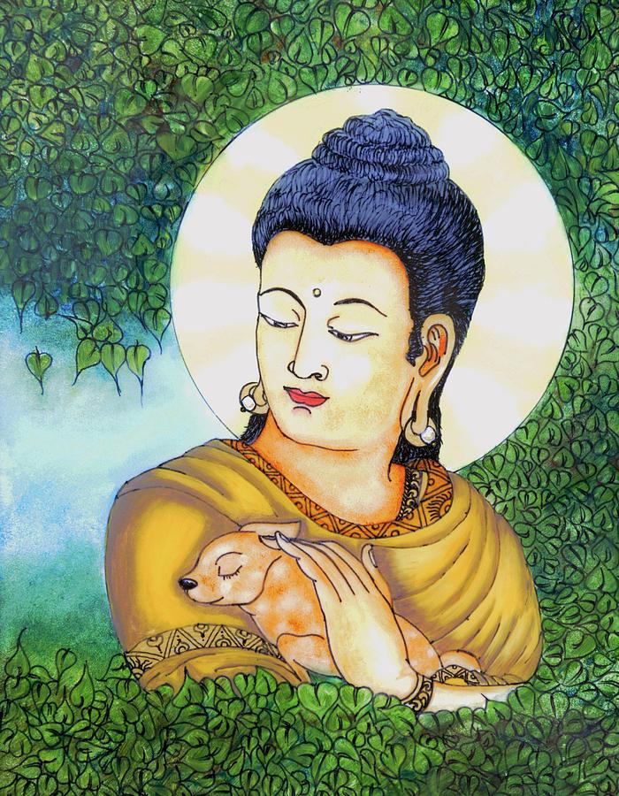Buddha Glass Art - Buddha Green by Loganathan E