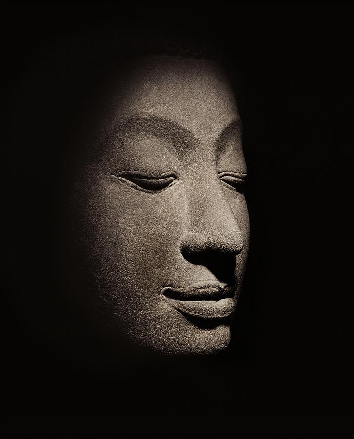 Buddha Photograph - Buddha head from the early Ayutthaya Period by Siamese School