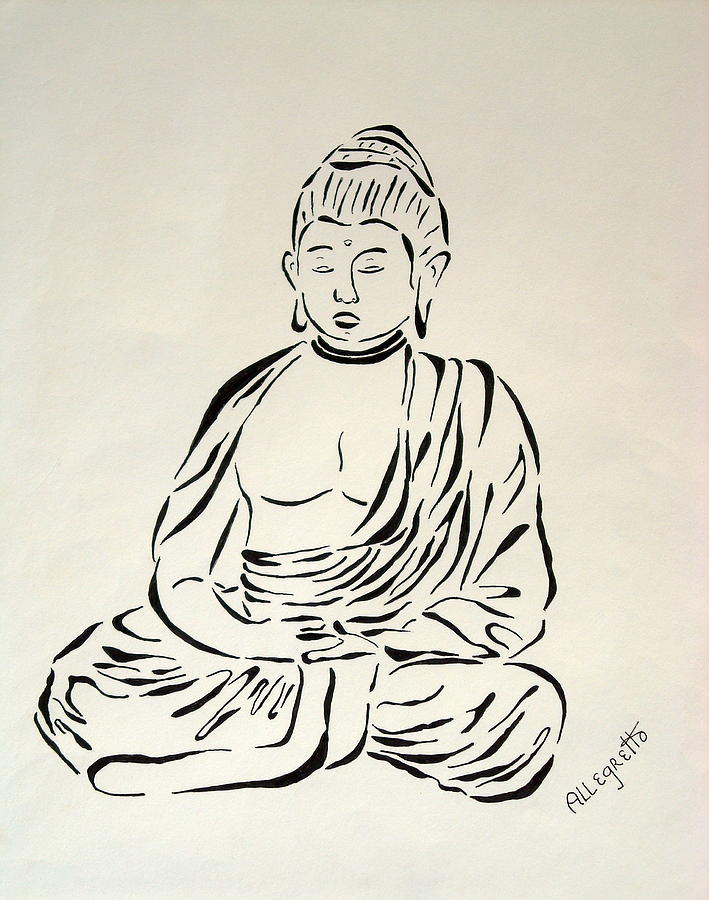 Black and white painting buddha in black and white by pamela allegretto