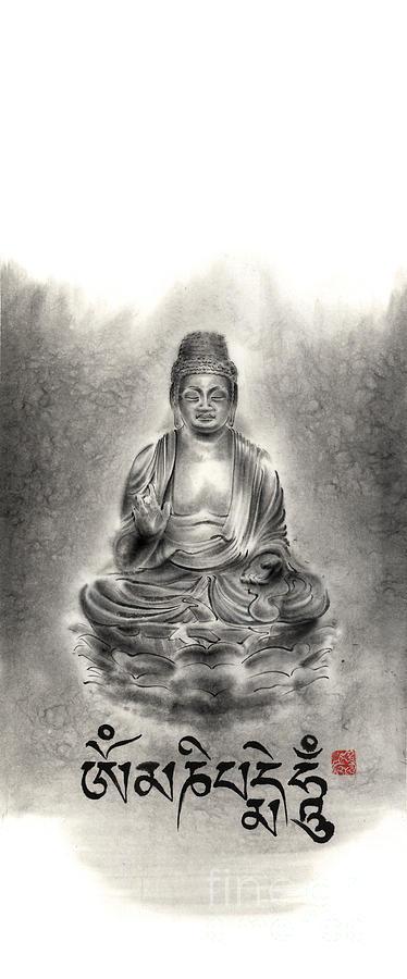 Sumi E Painting - Buddha Mantras Mantra Buddhist Sumi-e Tibetan Calligraphy Original Ink Painting Artwork by Mariusz Szmerdt