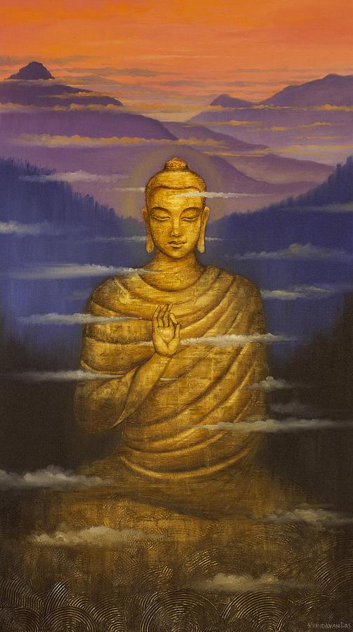 Buddha Painting - Buddha. Passing Clouds by Vrindavan Das