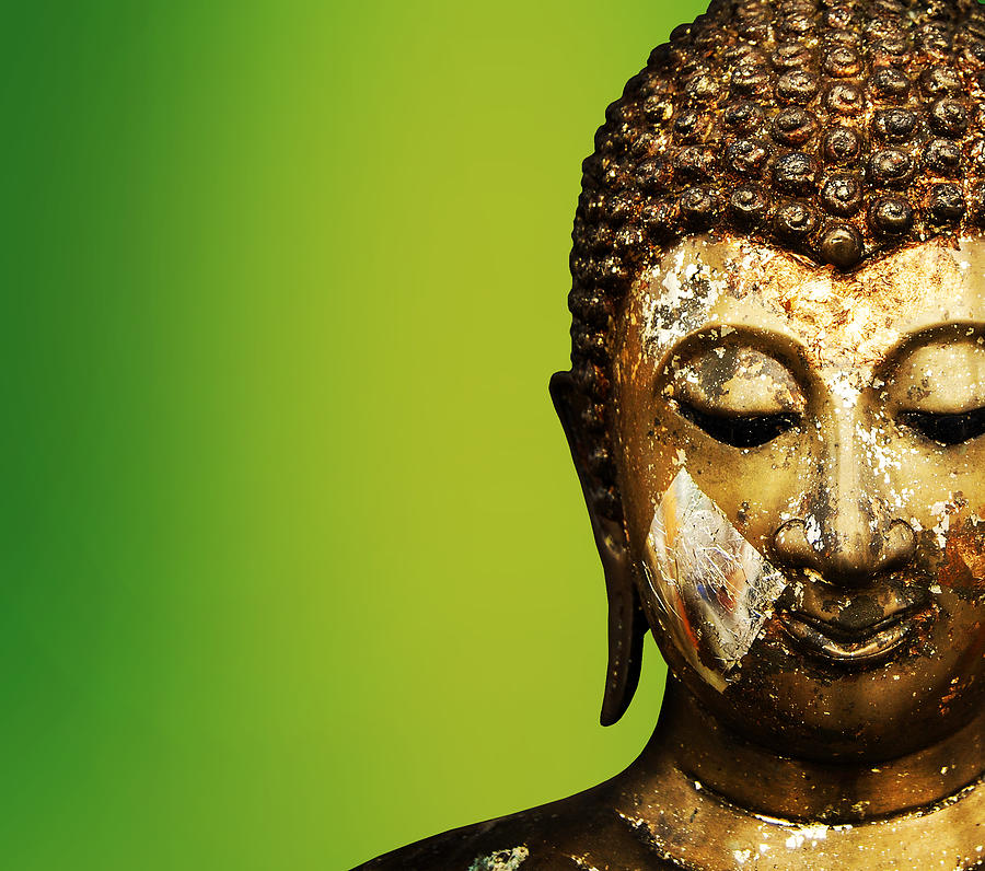 Ancient Mixed Media - Buddha Portrait  by Thanes