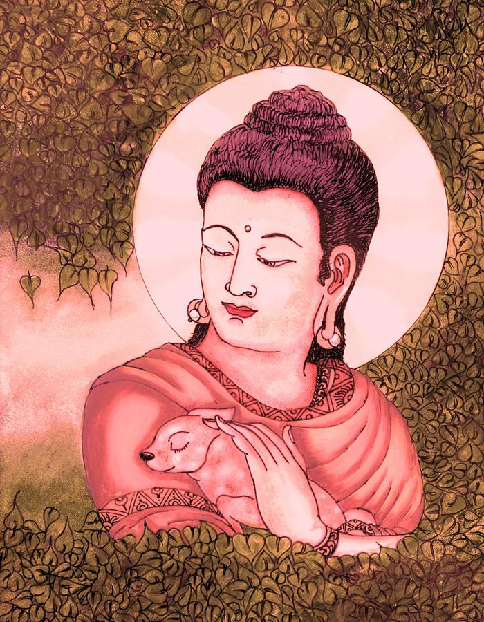 Buddha Glass Art - Buddha Red  by Loganathan E