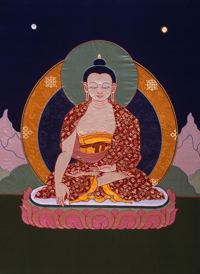 Buddha Tapestry - Textile - Buddha Shakyamuni by Leslie Rinchen-Wongmo