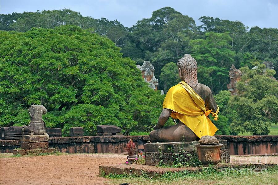 Buddha Photograph - Buddha Statue Wearing A Yellow Sash by Sami Sarkis