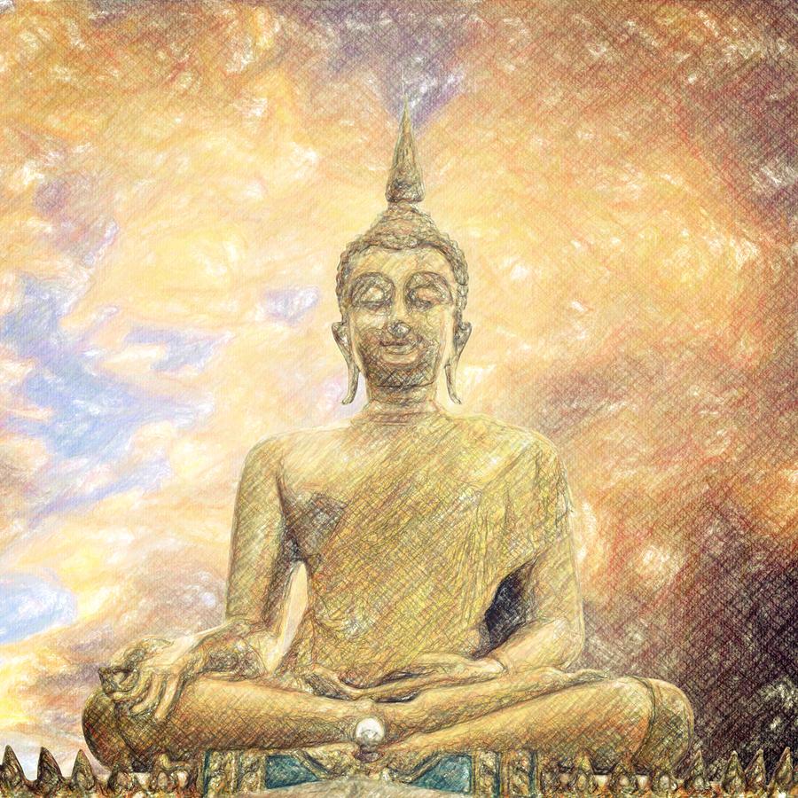 Buddha Drawing - Buddha by Taylan Apukovska