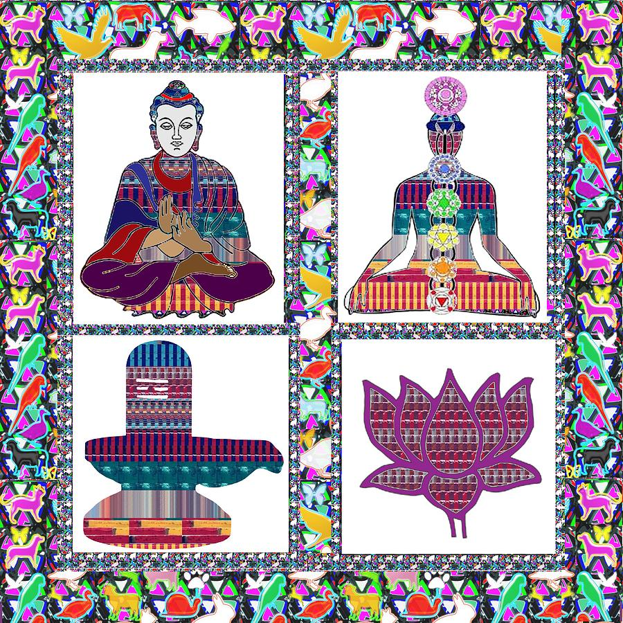 Buddha Painting - Buddha Yoga Chakra Lotus Shivalinga Meditation Navin Joshi Rights Managed Images Graphic Design Is A by Navin Joshi