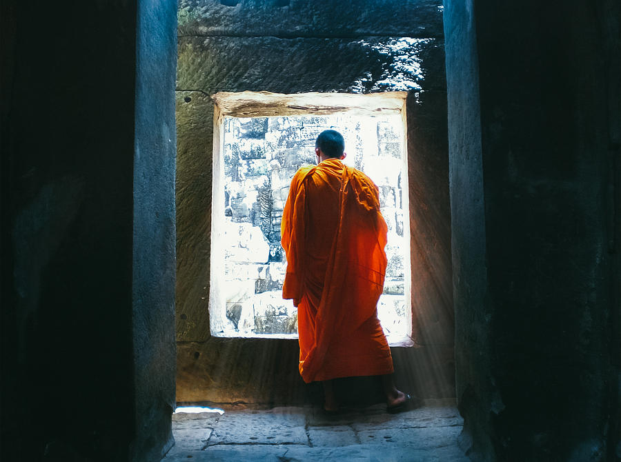 Angkor Wat Photograph - Buddhist Monk In Bayon Temple Angkor Wat by Leander Nardin