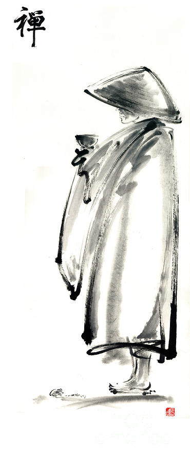 Sumi E Painting - Buddhist Monk With A Bowl Zen Calligraphy Original Ink Painting Artwork by Mariusz Szmerdt