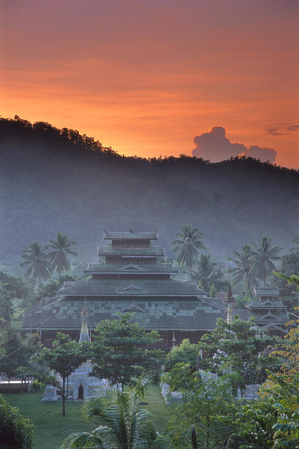 Buddhist Photograph - Buddhist Temple At Sunset by Richard Berry