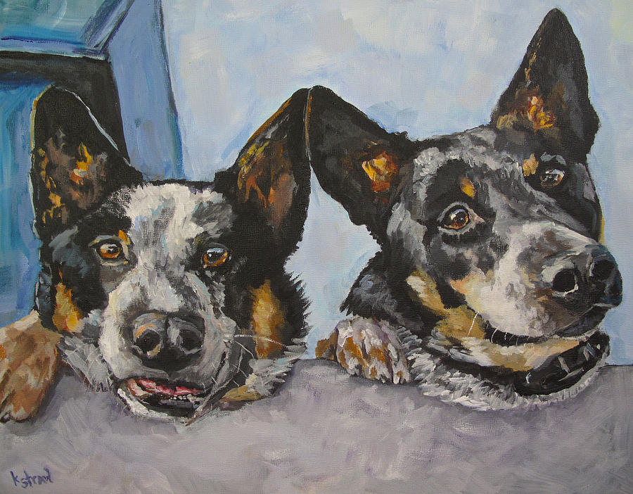 Cattle Dogs Painting - Buddy And Bandit by Kellie Straw