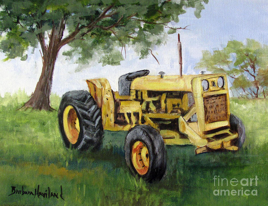 Tractor Painting - Buds Yellow Tractor by Barbara Haviland