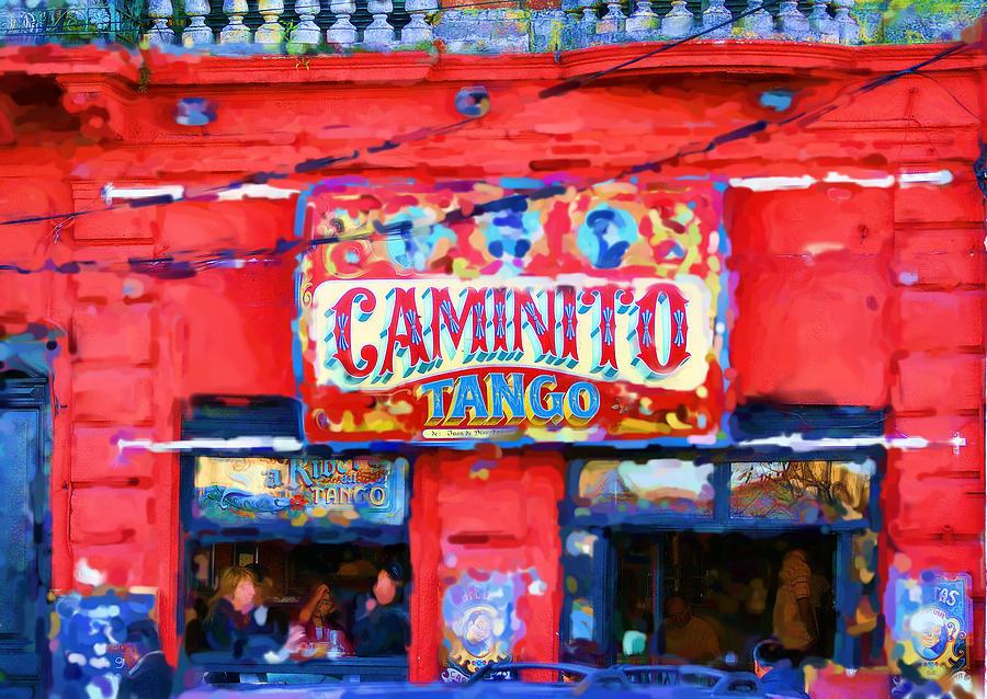 Buenos Aires Caminito Tango Theatre Painting Digital Art by Asbjorn Lonvig