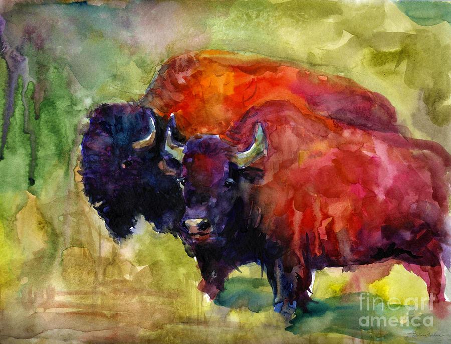 Bison Painting - Buffalo Bisons Painting by Svetlana Novikova