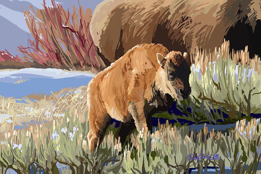 Animals Painting - Buffalo Calf by Pam Little
