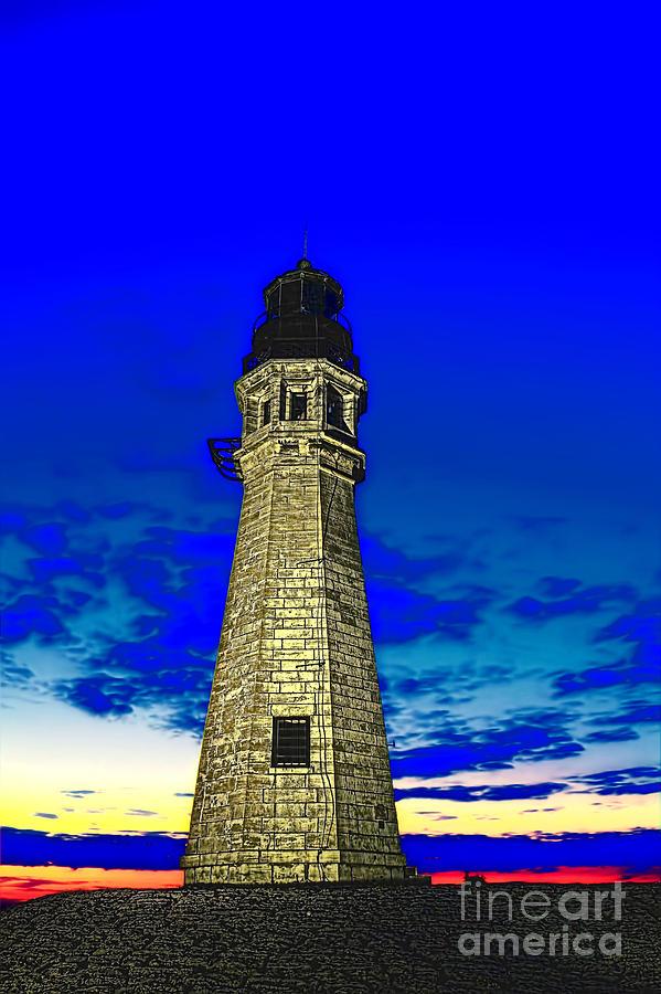 Buffalo Ny Photograph - Buffalo Harbor Lighthouse At Sunset by Jim Lepard