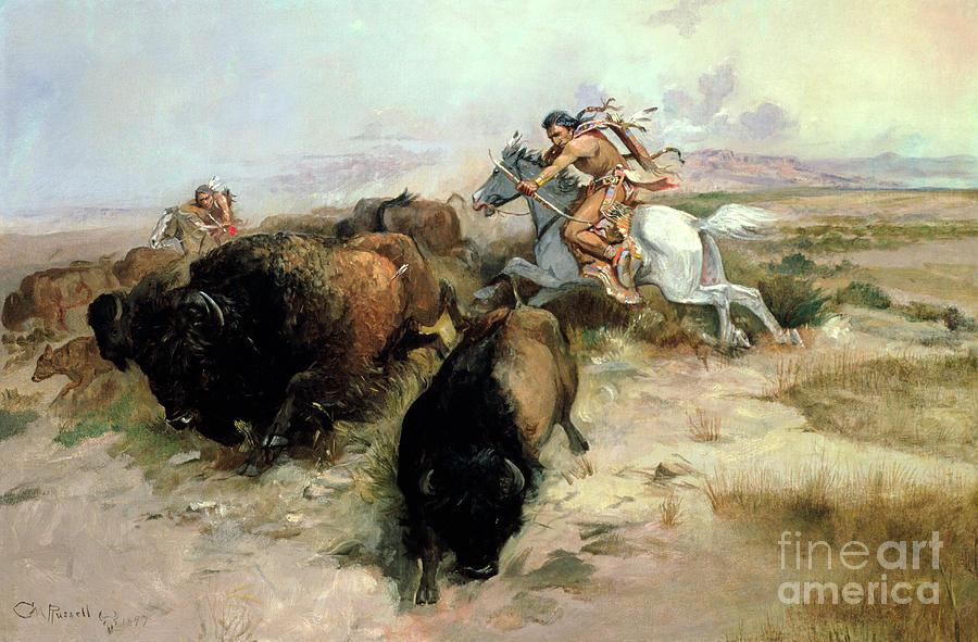 Buffalo Painting - Buffalo Hunt by Charles Marion Russell