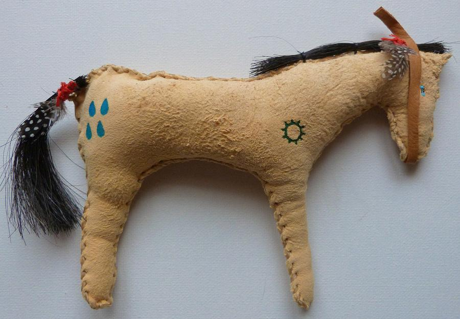 Plains Indian Mixed Media - Buffalo Hunt Pony by Lucy Deane