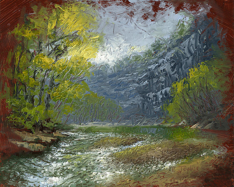 Water Painting - Buffalo River Bluff by Timothy Jones