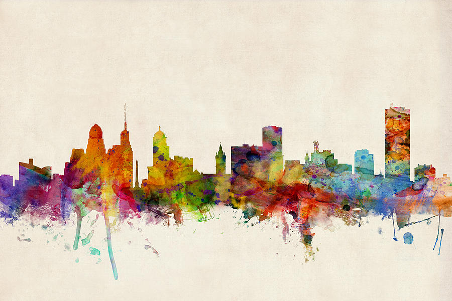 Watercolour Digital Art - Buffalo Skyline by Michael Tompsett