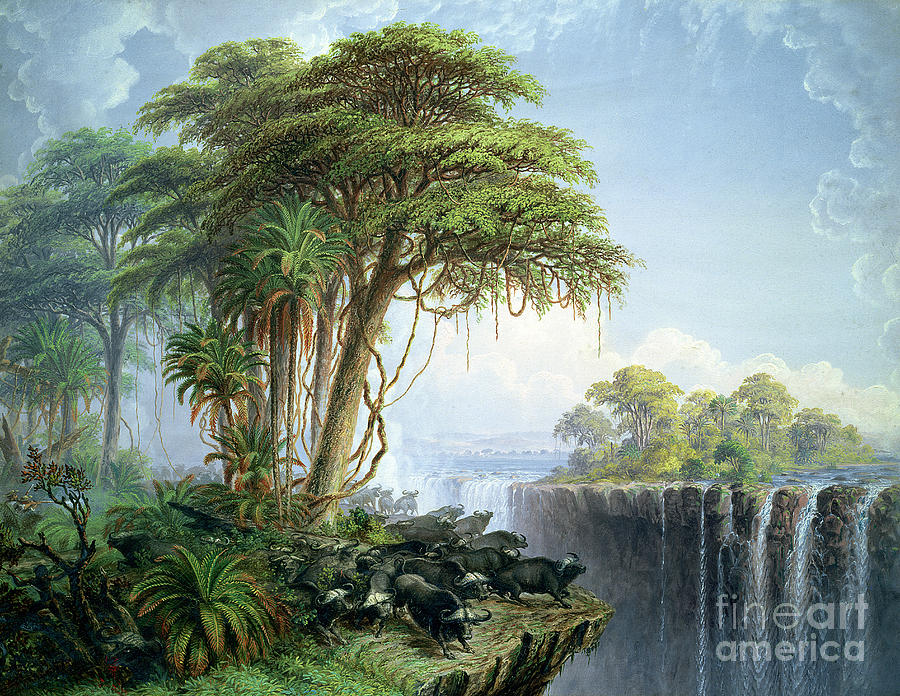 Landscape Painting - Buffalos Driven to the Edge of the Chasm opposite Garden Island Victoria Falls by Thomas Baines